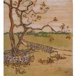 Image of Garden Bench Ink & Gouache