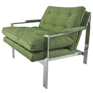Modern Lounge Chair in Polished Chrome with Green Upholstery Fabric: Cy Mann, 1970s
