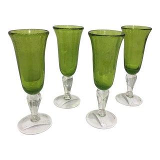 Abigail's Green Bubble Glass Flutes - Set of 4