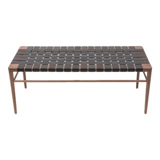 Smilow Furniture walnut and black leather webbed bench