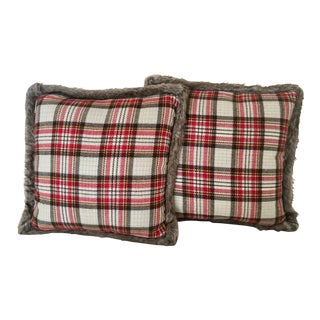Plaid & Faux Fur Pillows - a Pair (With Feather Inserts)