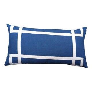 """Blue & White Geometric Throw Pillow - 26"""" x 14"""""""