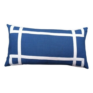 "Blue & White Geometric Throw Pillow - 26"" x 14"""