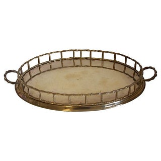 Bamboo-Style Rim Brass Tray
