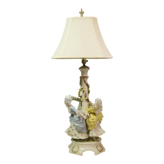 Deco-French Porcelain Maypole Table Lamp