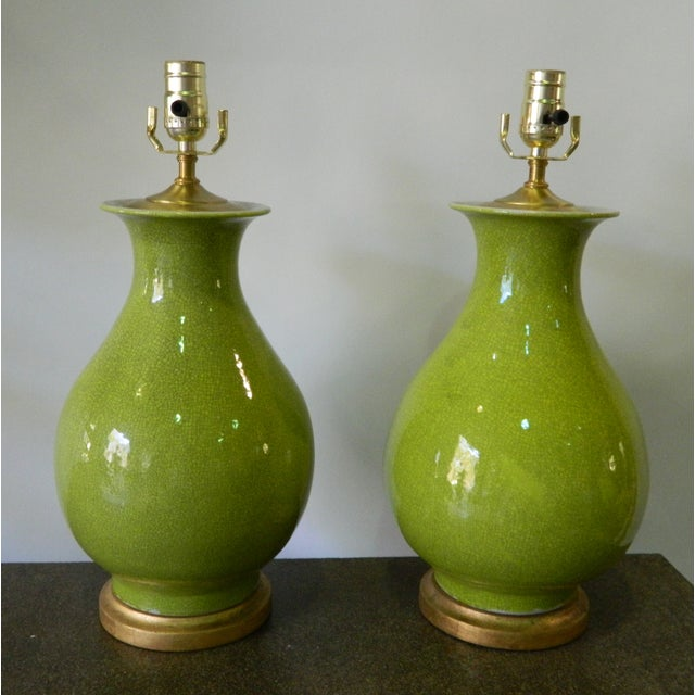 Seaweed Green Crackle Table Lamps - A Pair - Image 2 of 8
