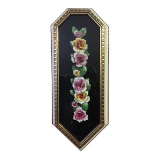 Mid-Century Modern Porcelain Roses Shadow Box