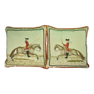 Equestrian Petit-Point Pillows - A Pair
