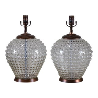 Pair Vintage French Hobnail Glass Vessels, circa 1920 Wired as Lamps
