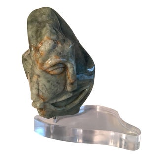Abstract Stone Head Sculpture on Lucite Stand