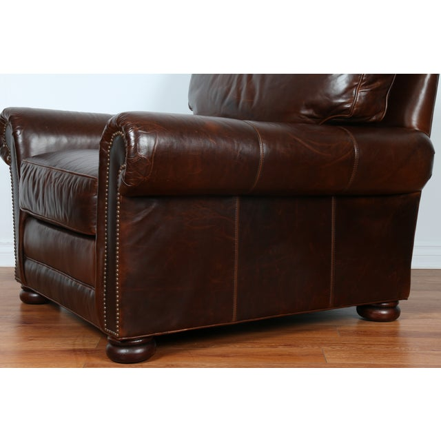 Brown Leather Chair With Ottoman - Image 10 of 11