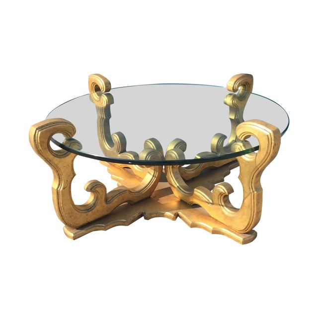 Image of Hollywood Regency Glass Top Coffee Table