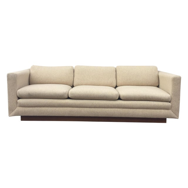 Mid Century Cream Sofa on Wood by Gunlocke Company - Image 1 of 10
