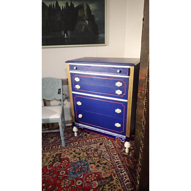 Antique Blue and Red Painted Dresser - Image 6 of 7