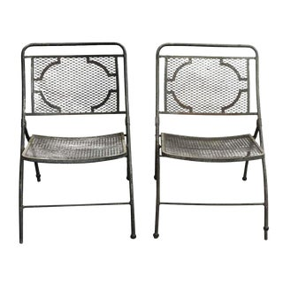 Pair of Vintage Bid Lid Folding Perforated Metal Chairs