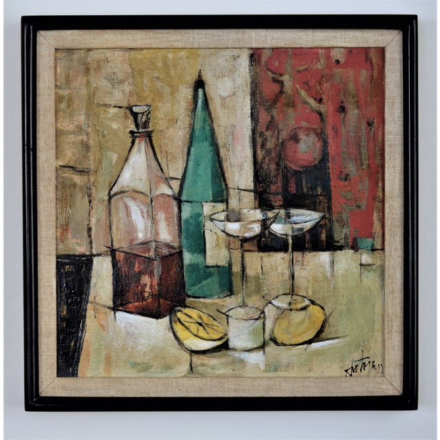 1950s Mid-Century Modern Cubist Oil Painting by Kero S. Antoyan Abstract Expressionism Millennial Pink - Image 2 of 11