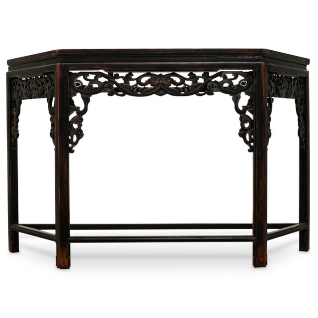 Sarreid LTD Asian Carved Wood Console Table - Image 5 of 5