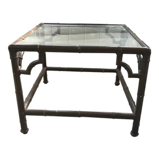 Chinese Chippendale Faux Bamboo Patio Table