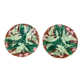 Antique English Majolica Plates - A Pair