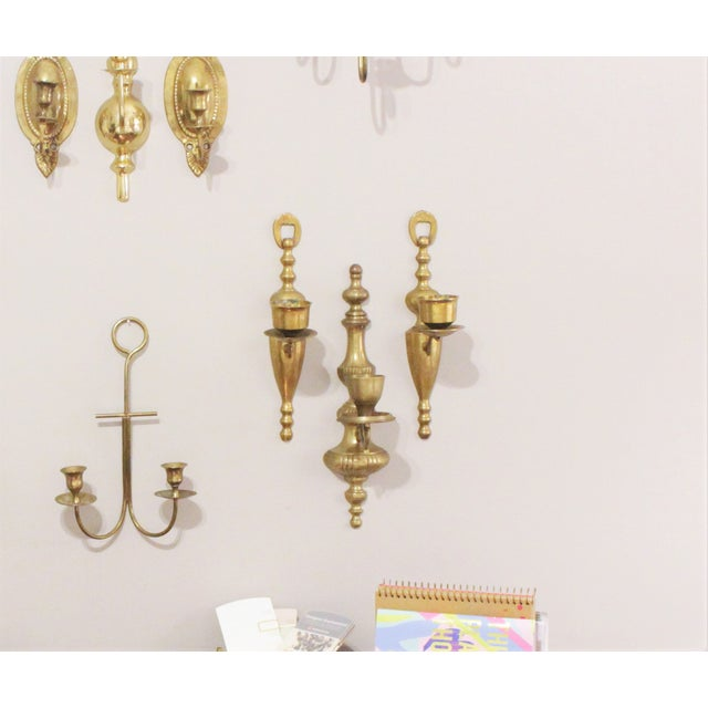 Vintage Brass Wall Sconces - Set of 3 - Image 6 of 6