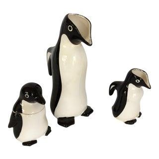 Vintage Penguin Sugar Creamer & Pitcher - Set of 3