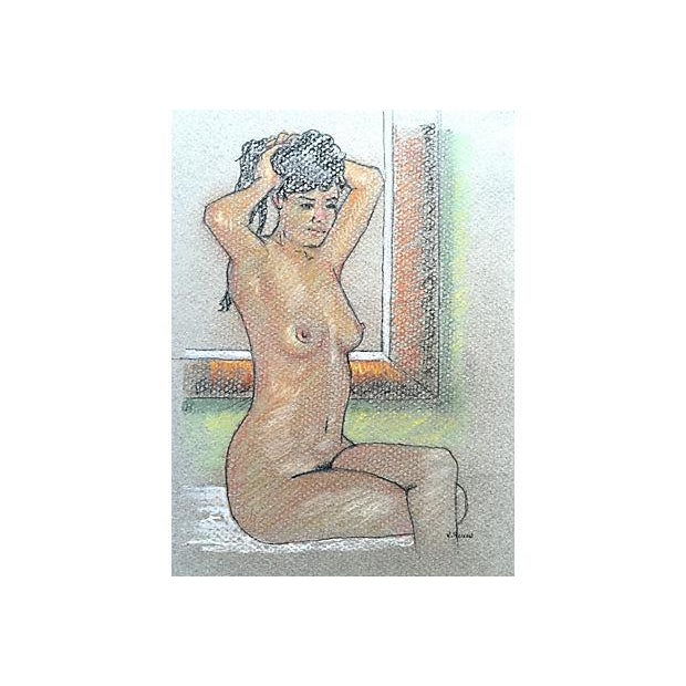 Pastel Drawing of Seated Nude by Window - Image 3 of 5