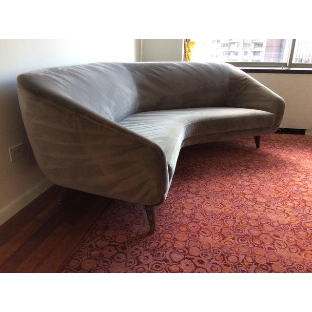 Vladimir Kagan for Weiman Gray Velvet Angled Sofa - Image 8 of 8