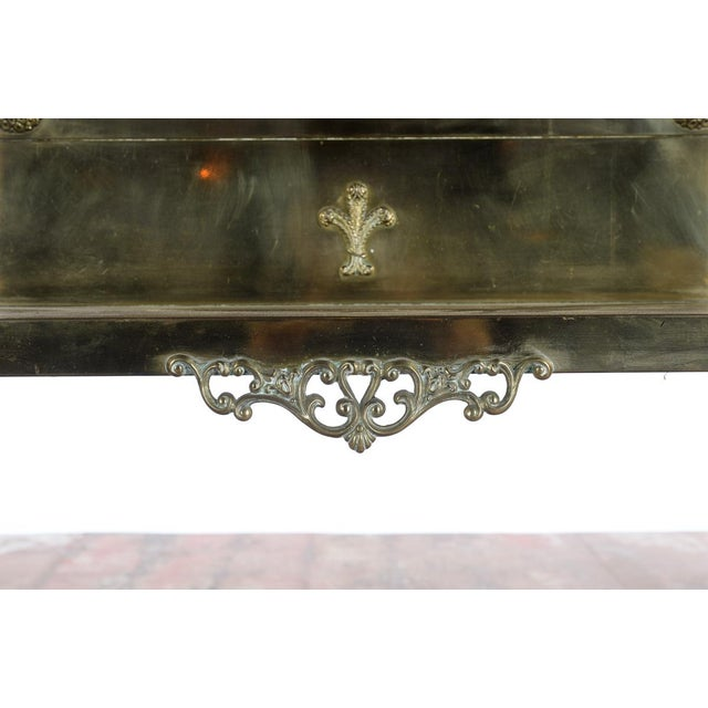 Antique Victorian Brass & Beveled Mirror Hall Tree - Image 5 of 9