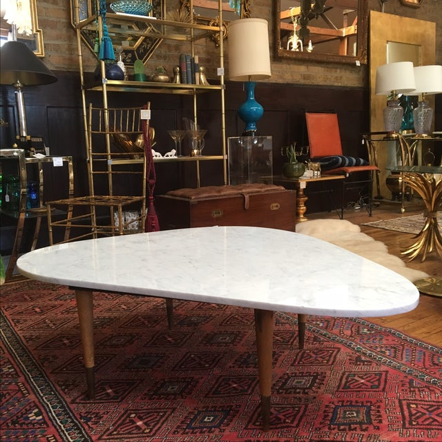 Mid Century Square Steel Coffee Table With Black Marble: Mid Century Italian Marble Coffee Table