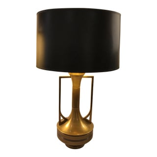 Transitional Brass Lamp & Black Shade