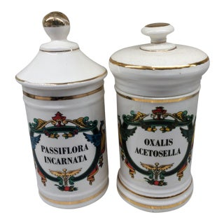 Antique Oxalis & Passiflora Apothecary Jars - A Pair