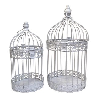 White Bird Cages - A Pair