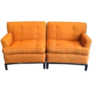 Orange Tufted Mid-Century Sectional Sofa