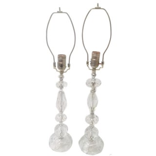 Heavy Cut Crystal Beaded Table Lamps - A Pair