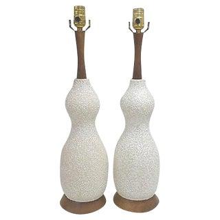 Mid Century White Textured Ceramic Lamps - Pair