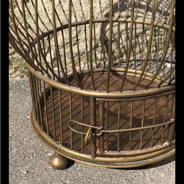 Image of 1940's Large Brass Bird Cage