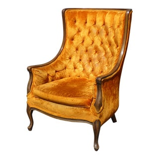 Vintage French Provincial Tall Wingback Tufted Orange Velvet Accent Chair