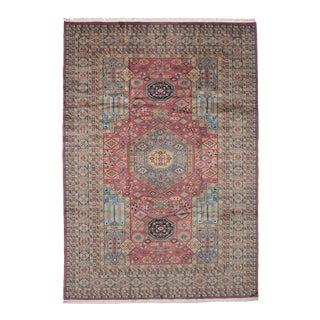 Vintage Afghan Kashmir Pink & Blue Wool Rug - 7′2″ × 10′4″