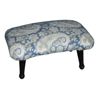 Antique Blue Paisley Footstool
