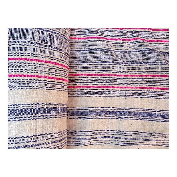 Handwoven Striped Linen Fabric - 10.6 Yards - Image 3 of 5