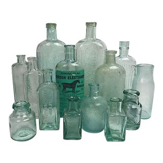 Antique English Glass Bottles - Set of 14