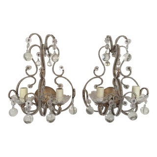 Petite Crystal Beaded Sconces - A Pair