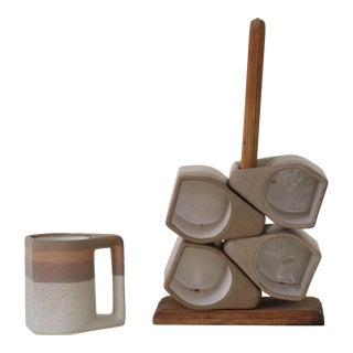 Ceramic Desert Mugs With Stand - Set of 6
