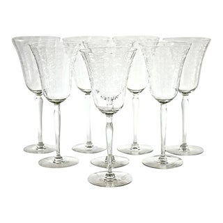 1920s Etched Crystal Stemmed Goblets - Set of 8