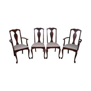 Crawford Cherry Traditional Queen Anne Style Dining Chairs - Set of 4