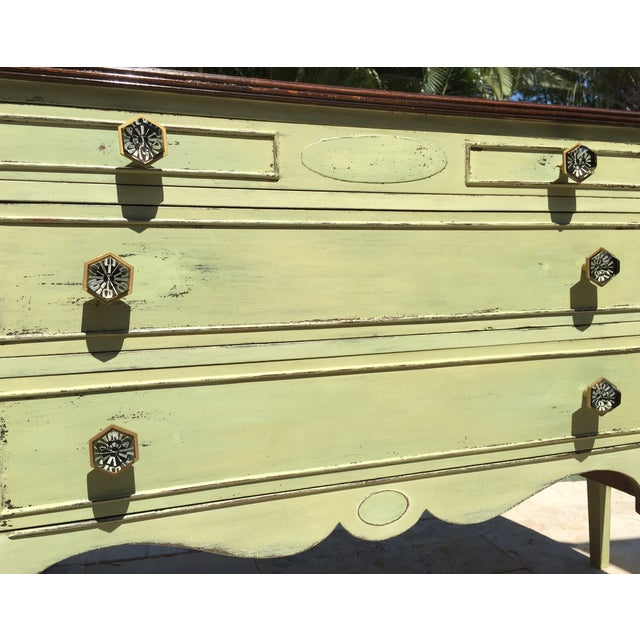 Vintage Green Milk Paint Buffet Sideboard Credenza - Image 4 of 11
