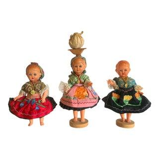 Vintage Handcrafted Portuguese Peasant Souvenir Dolls - Set of 3