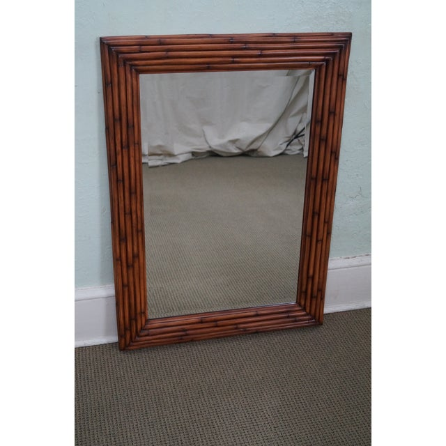 Image of Ethan Allen Faux Bamboo Beveled Wall Mirror