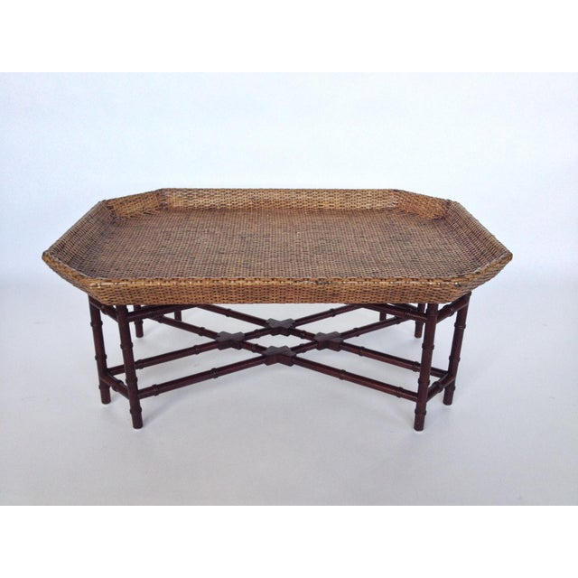 Crate Barrel Bamboo Base Rattan Coffee Table Chairish