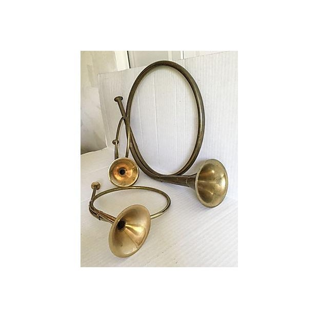 Image of Decorative Brass French Horns - Set of 3